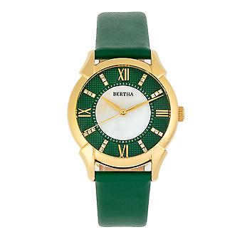 Bertha Ida Mother-of-Pearl Leather-Band Watch - Green