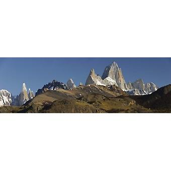Low angle view of mountains Mt Fitzroy Cerro Torre Argentine Glaciers National Park Patagonia Argentina Poster Print