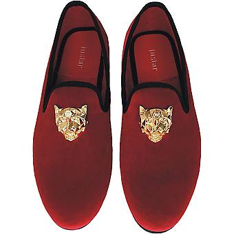 Justar Men's Black Velvet Loafers Slip-on Dress Shoes with Gold Buckle Slippe...