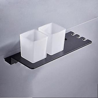 Silver Double Toothbrush Holder With Tooth Holder Aluminum Black Tumbler & Cup