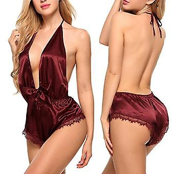 Sexy Women's Sleepwear Satin Pajama Set Black Lace Pyjamas Sleeveless