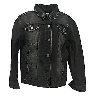 Rachel Hollis Ltd Women's Button Up Denim Jacket Black A368016