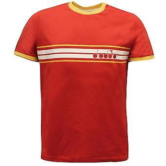 Diadora Sportswear Mens T-Shirt Casual Top Red 172418 45032 EE190
