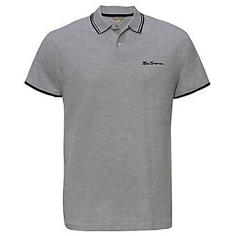 Ben Sherman Mens Tipped Pique Polo T-Shirt Short Sleeve Top Grey 0062104