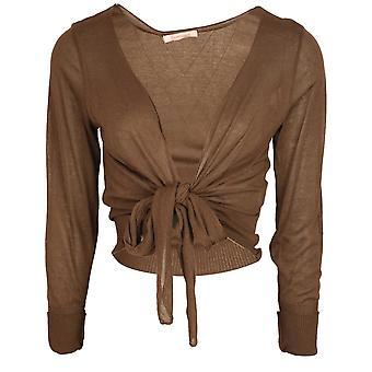 Evalinka Brown Light Knit Long Sleeve Bolero With Tie Front Detail