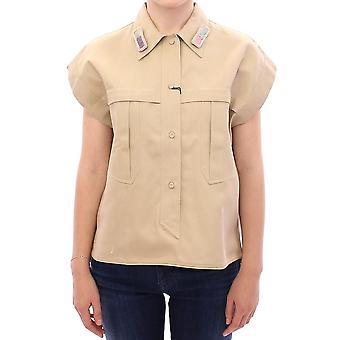 Beige sleeveless blous43167319