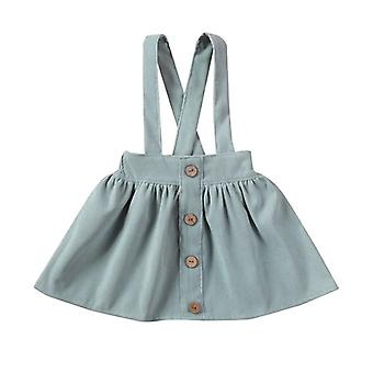 Tutu Suspender Rok, Baby Ruffle Corduroy Solid Summer Fall Button