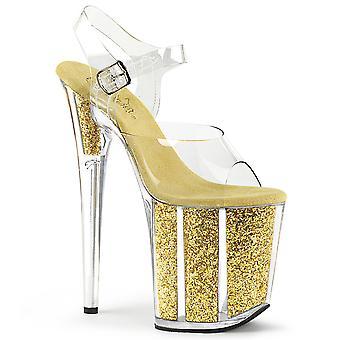 Pleaser Scarpe donna FLAMINGO-808G Clr/Gold Glitter