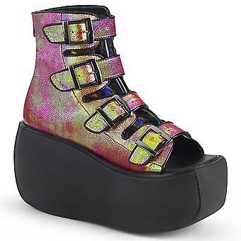 Demonia Women's Boots VIOLET-150 Pink-Green Iridescent Vegan Leather-Hologram