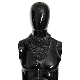 Black Gray Viscose Foulard Branded Scarf