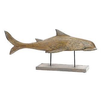 Figura decorativa DKD Decoración del hogar Metal Bambú Tiburón (95 x 22 x 40 cm)