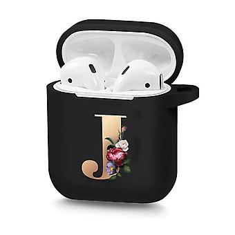 Cute Floral Initial Alphabet Letter Soft Case For Airpods Silicone Wireless