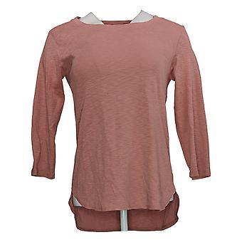 Gloria Vanderbilt Women's 3/4 Sleeve Slub Tee Shirt Pink