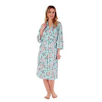 Slenderella Gaspe GL77704 Women's Aqua Floral Dressing Gown