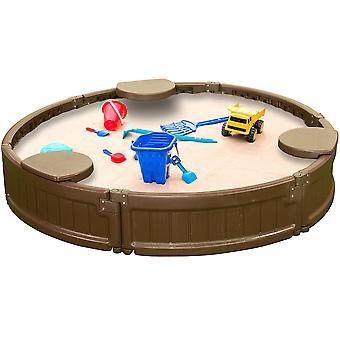 Modern huis 4ft ronde all weerbestendige outdoor sandbox kit w / cover, duurzame all-weather cirkel outdoor speeldoos