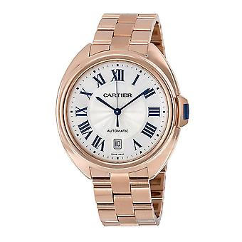 Cartier Cle Silvered Flinque Dial 18kt Rose Gold Men's Watch WGCL0002