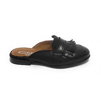 Women's Shoes Elite Sabot With Black Leather Fringes Ds21el04