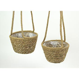 Set of 2 Woven Natural Jute Rope Hanging Planters With Clear Plastic Liners