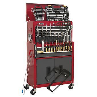 Sealey Ap2200Bbcombo työkalu rinnassa Combi 6 laatikon laakeri juoksijat & 128Pc työkalu