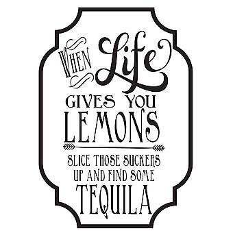Hampton Art Wood Mounted Stamp - Wood Stamp - Lemons And Tequila