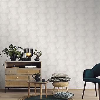 Elle Decoration Geometric D Triangle Wallpaper Light Grey Cream 1015231
