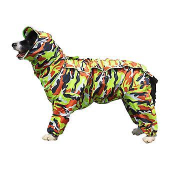 Impermeabile per cani verdi mimetico con cappotto con cappuccio staccabile, 10 misure