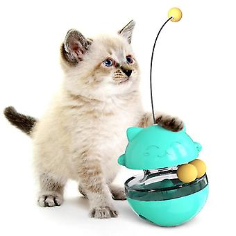 Funny 3 In1 Game Pet Cat Interesting Toy Tumbler Cats Tracks Spinning Ball Toys Puzzle Play(green)