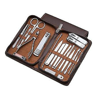 20Pcs brown stainless steel manicure set x6493