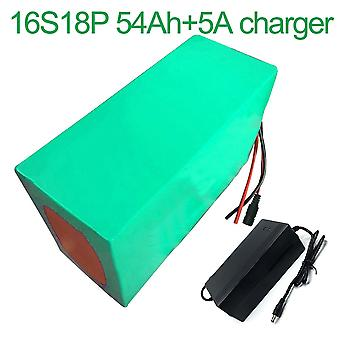 Battery With Charger 5a 54ah 60v Li-ion 18650 Rechargeable Electric Two Three-wheeled Motorcycle Bike Ebike Accept Customization 16s18p 315 * 180 * 14