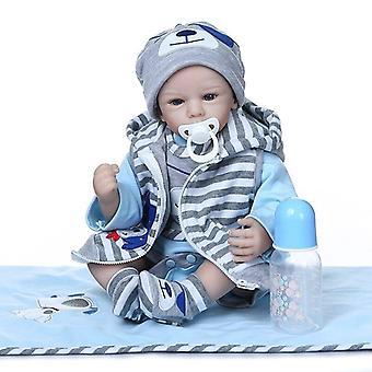 50Cm bebe muñeca realista renacido bebé niño muñeca realista silicona suave toque adorable bebé real tamaño bebé tierno baby weighte
