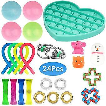 Fidget Toys Set sensoriale Autismo Adhd Stress Relief Special Need Education Sets(24 Pcs Heart)