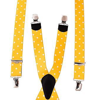 Cravatte Pianeta Giallo Dorato & Bianco Pois Dot Pantaloni Uomo Bretelle