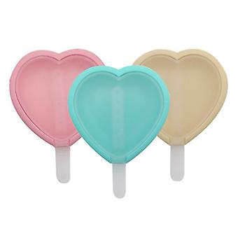 3-piece Reusable Soft Silicone Ice Cream Mold(Heart-shaped)