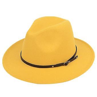 Women Wool Felt Fedora Hat With Leopard Print Wide Brim(Yellow B)