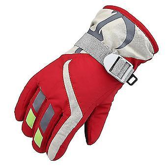 Lyžiarske rukavice, vodotesné detské lyžiarske rukavice, snežný skúter Studené počasie Rukavice (červená)