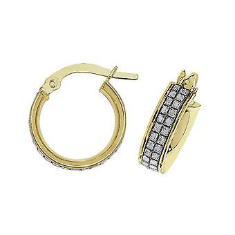 HS Johnson HSJ-ER1063-10 Women's 9ct Gold CZ Hoop Earrings
