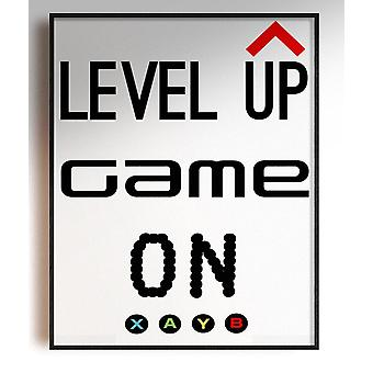 GnG Gaming A5 Word Quote Poster per bambini Camere da letto Opera d'arte Level Up XB