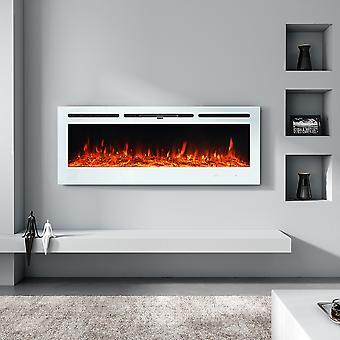 12 Flammes LED Cheminée Murale Électrique - Blanc, 50 Pouces