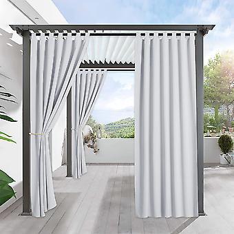 Utomhusgardiner för uteplats - vattentät & solljus isolerad draperi integritet för veranda trädgård bakgård skjutbar glasdörr, gråvit