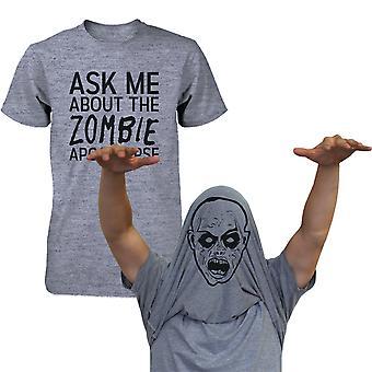 Spørg mig om Zombie Apocalypse skjorte sjove Flip Up T-shirt Halloween T-shirt sjove