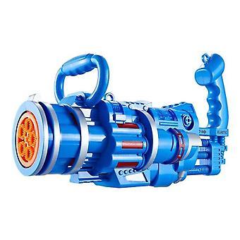 Sommer Kinder Bubble Gun Gatling Modell Große poröse Blasenmaschine Seife Elektrisch (Blau)