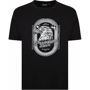 ESPIONAGE Espionage Mens Big Size Eagle Premium Beer Cotton Crew Neck T Shirt Black