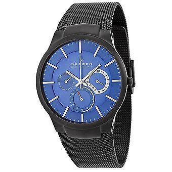 Skagen kronograf blå ur svart mesh armbånd menns klokke 809XLTBN