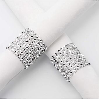 100pcs Chair Sash Rings Silver Napkin Rings Holder With Hasp Closure Plastic Diamond Mesh Wrap Ribbon Table Ornament For Wedding Party Birthday Annive