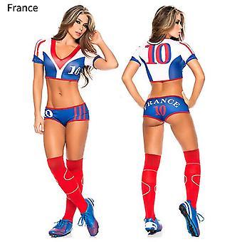 Lady Fotball Baby Sexy Cheerleader Jersey Kostyme Topp Shorts Sett Spiller Fotball Uniform Klær Slitasje