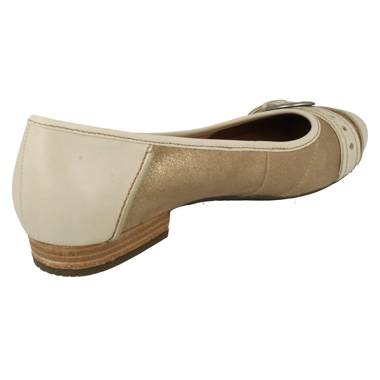Ladies Clarks Casual Belt Detail Ballerina Flat Henderson Ice