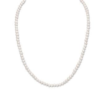 925 sterling ezüst 15 hüvelyk + 2 hüvelykes Extention fehér Édesvízi tenyésztett gyöngy a fiúk vagy lányok nyaklánc