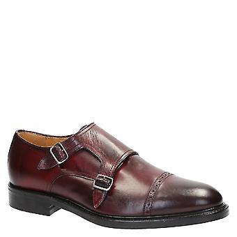 Chaussures sangle moine double fait main en cuir burgundy