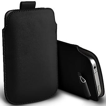 Huawei Y6 Pro Slip In Pull Tab Faux Leather Pouch Case Cover (Black)