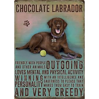 Medium Wall Plaque 200mm x 150mm - Chocolate Labrador by The Original Metal Sign Co